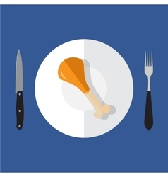 chicken leg on plate with knife and fork vector image