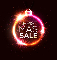 christmas sale poster neon lights banner vector image