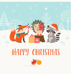Christmas woodland friends in winter forest vector