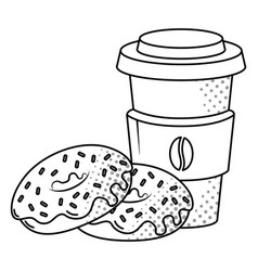 coffee and donuts black and white vector image