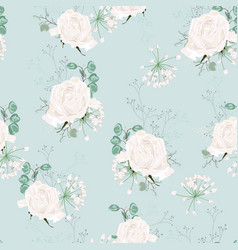 colorful pastel seamless pattern with roses vector image