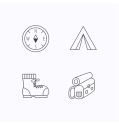 Compass camping tent and hiking boots icons vector image