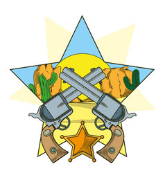 Cowboy revolvers crossed cartoon vector