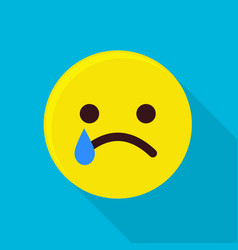 crying emoticon icon flat style vector image