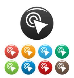 cursor click element icons set color vector image