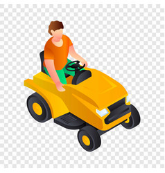 Cut grass machine icon isometric style vector