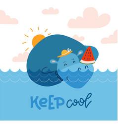 Cute hippopotamus sweeming in blue water and vector