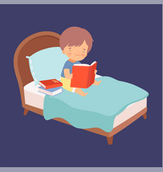 cute little boy reading books in bed at night vector image