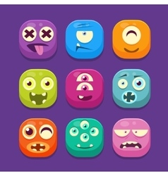 Cute Monster Web Icons Colourful vector image