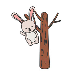 Cute rabbit hanging from tree hello autumn vector