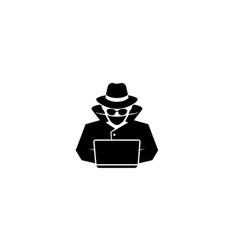 detective hidden black hacker laptop logo vector image