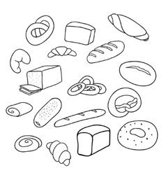 Different varieties of bread vector