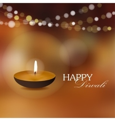 Diwali greeting card invitation with diya oil lamp vector