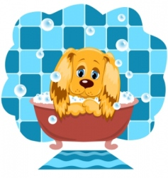 Dog bathes vector