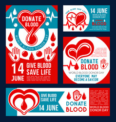 donate blood banner of donor medical center design vector image