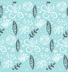 doodle floral pattern with flowers and leaves vector image