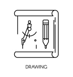 drawing and stationery isolated outline icon vector image