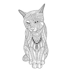 Drawing cat for coloring book for adults vector