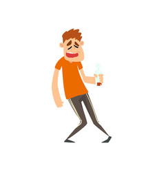 drunk man with bottle of alcohol drink in his hand vector image