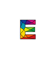 E colorful low poly letter logo icon design vector