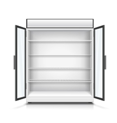 Empty commercial fridge with shelves vector image