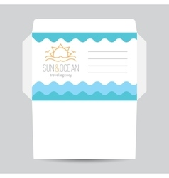 Envelope with sun and waves logo vector