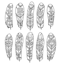 Ethnic feathers set isolated on white background vector image