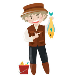 Fisherman holding dead fish in hand vector