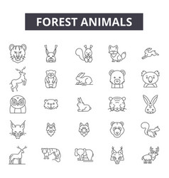 forest animals line icons signs set vector image