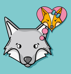Fox animal thinking in its girlfriends with chat vector