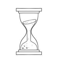 freehand drawn black and white cartoon sand timer vector image
