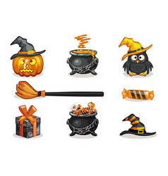 Funny cartoon orange and black halloween icons vector