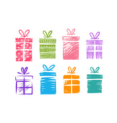 gift boxes with bow set icons doodle vector image