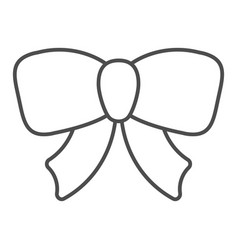 Gift ribbon bow thin line icon decoration vector