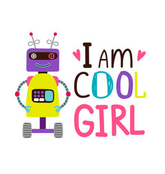 girsl t-shirt design with robot vector image