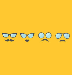 glasses and mustache lips moustaches face icon vector image