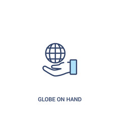 Globe on hand concept 2 colored icon simple line vector