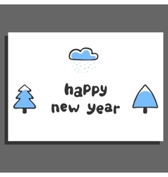 Happy new year greeting card with cute doodle vector image