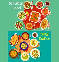 Healthy food dish icon set for dinner menu design vector