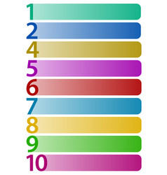 horizontal rectangles with numbers up to 10 vector image
