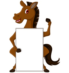 horse cartoon with blank sign vector image