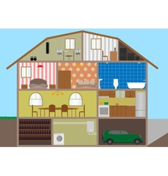 House in a cut vector image