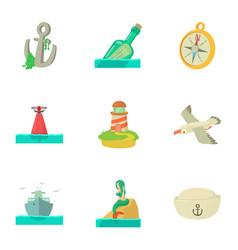 Isle icons set cartoon style vector
