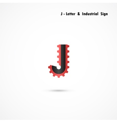 J-letter and gear icon design vector image