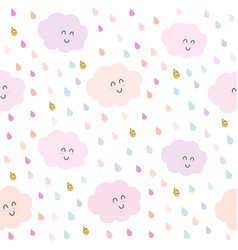 Kawaii clouds and drops seamless pattern vector