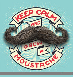 keep calm and grow a moustache vector image