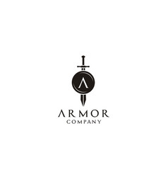 Knight shield armor sword initial letter a logo vector
