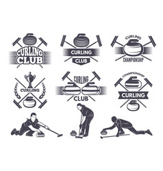 Labels for curling sport team vector