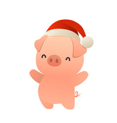 little pig with christmas santa red cap happy new vector image