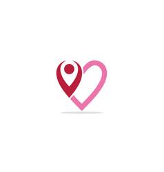 love heart valentine people logo vector image